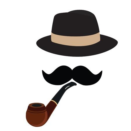 Fedora hat, smoking pipe and mustache, retro, raster