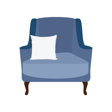 white pillow: Blue vintage armchair with white pillow raster illustration. Armchair isolated. Modern armchair