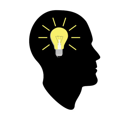 New bright idea in human head, thinking about success solution, lightbulb as creativity metaphor. Flat icon modern design style raster illustration concept