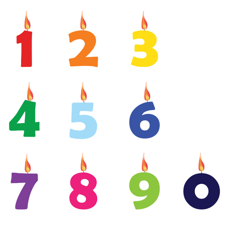 1: Collection of wax birthday candles numbers from zero to nine different colors raster Stock Photo