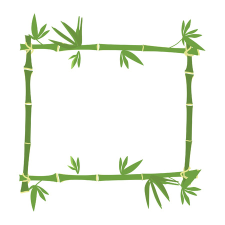 Bamboo frame, bamboo border raster, green bamboo Stock Photo