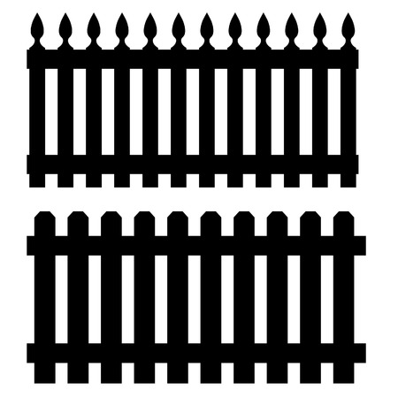 palisade: Two black wooden garden fences, palisades raster isolated Stock Photo