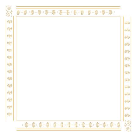 decorative frame: Golden decorative border raster illustration. Decorative element. Decorative frame