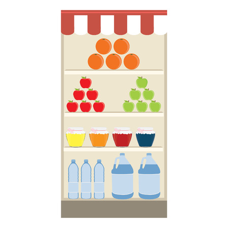 grocery shelf: raster illustration of supermarket. Grocery shelf. Shelf with food and drink. Grocery store. Grocery shopping. Stock Photo