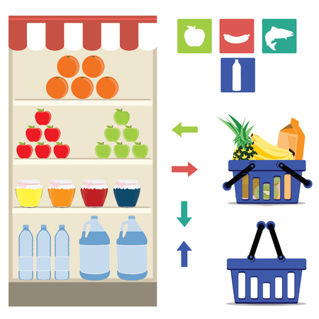 grocery shelf: raster supermarket icons. Full and empty shopping basket, grocery shelf, arrows and meat, fish, fruit and drink symbols. Grocery department