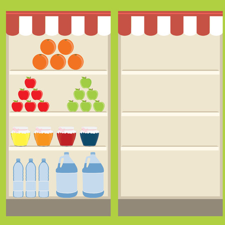 grocery shopping: raster illustration of supermarket. Grocery shelf on green background. Shelf with food and drink. Empty shelf. Grocery store. Grocery shopping.