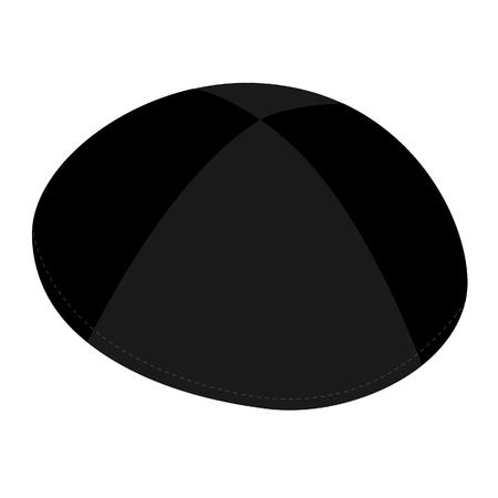 yarmulke: Black kippah, jewish traditional hat raster isolated on white