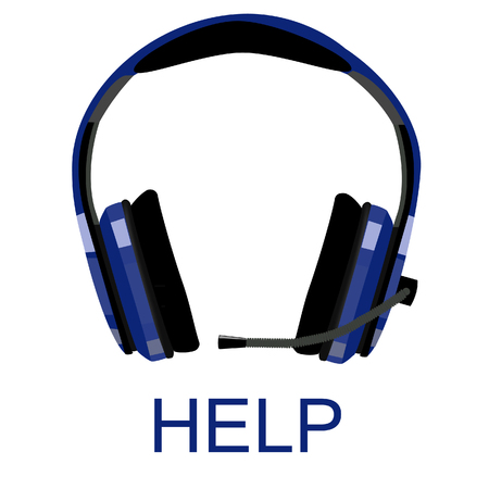 head phones: Blue headphones with microphone, customer support, support icon, computer support, call center icon raster isolated