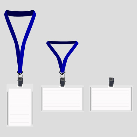 Three white blank lanyard with blue holder, name badge, vip pass, lanyard pass