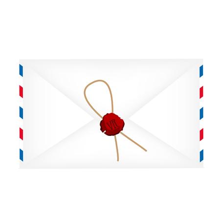 avia: Wax sealed letter envelope raster isolated on white