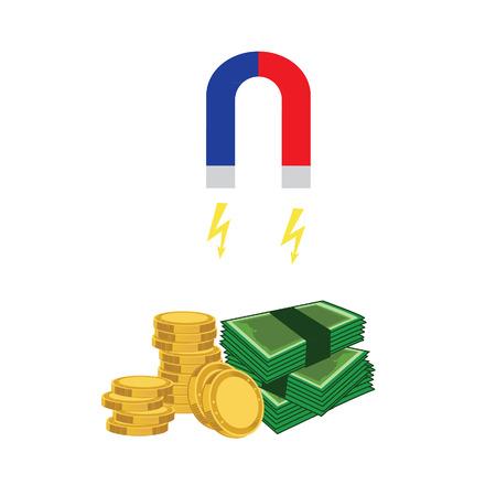money concept: Magnet paper money and coins. Magnet money concept. Attracting investments concept. Money business success dollar magnet.