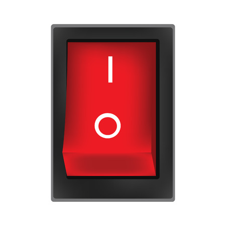 flick: Red switch on button raster, on off button, on icon