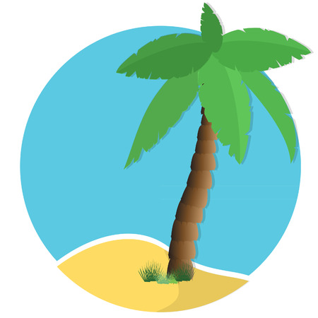 lagoon: Palm tree on island, sunny lagoon, tropical nature raster, travel icon Stock Photo