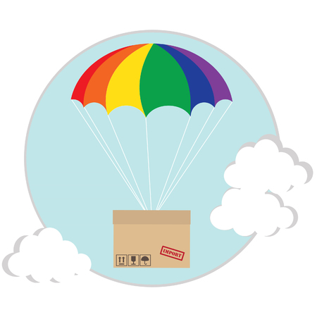 costumer: Package flying with colored parachute in the sky with clouds. Delivery service. Air shipping concept Stock Photo