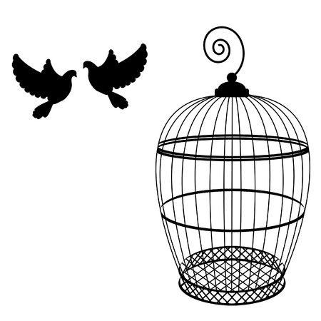 birdcage: Birdcage and two pigeon raster isolated, bird cage silhouette, vintage birdcage Stock Photo