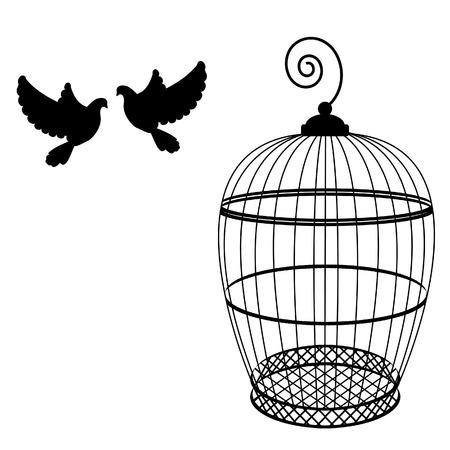 Birdcage en twee duiven geïsoleerd raster, vogelkooi silhouet, vintage vogelkooi Stockfoto