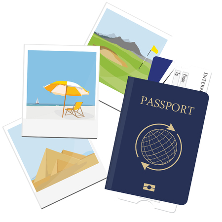 golf field: raster illustration of passport with ticket and photo pictures from travel. Egypt pyramids giza. Golf field at mountain landscape. Summer holiday. Seaside