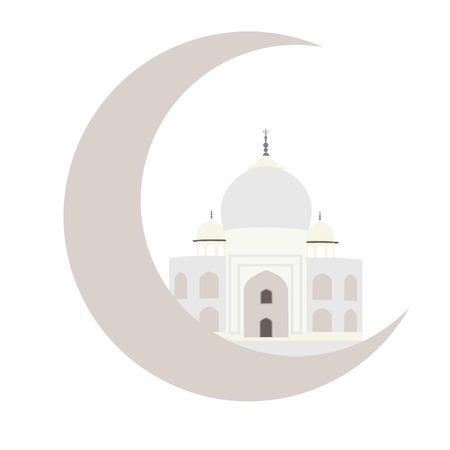 agra: Holy month of muslim communit. Ramadan Kareem celebration. Moon with taj mahal