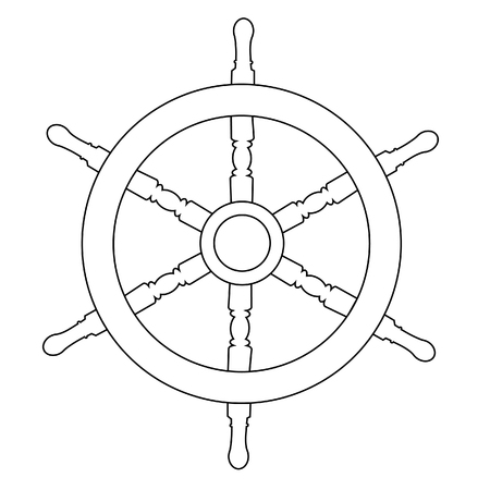 Houten stuurwiel schip wiel raster geïsoleerd op wit, overzicht tekeningen, silhouet