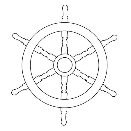 Houten stuurwiel schip wiel raster geïsoleerd op wit, overzicht tekeningen, silhouet Stockfoto - 47517324