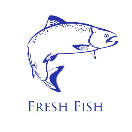 salmon fish: Salmon fish raster isolated on white, vintage, design Stock Photo