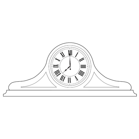roman numerals: Outline drawing of old table clock with roman numerals raster illustration. Vintage desk clock. Table clock
