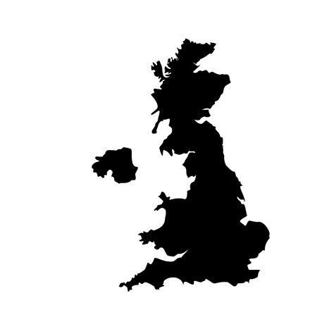 uk map: raster illustration black silhouette of uk map. England map. United Kingdom of Great Britain. Uk map counties