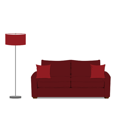 floor lamp: raster illustration of red sofa with two pillows and red standing floor lamp. Classic sofa. Living room interior