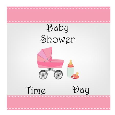 baby girl: Postcard baby shower, baby girl, invitation, greeting, raster