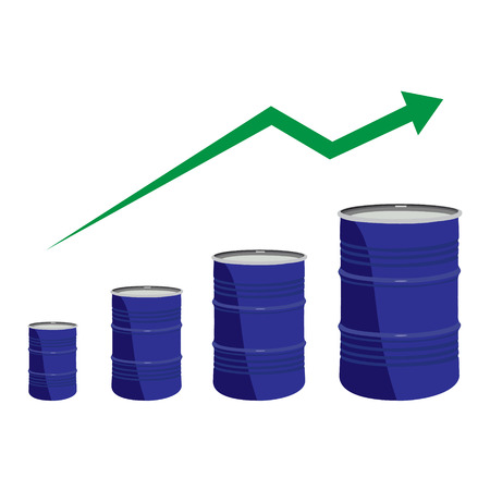 diesel: raster illustration of oil barrel chart graph with green arrow pointing up. Oil and diesel price chart