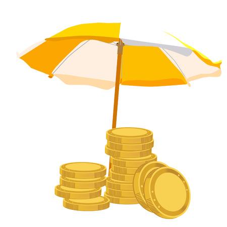 protect money: Orange and white umbrella to protect money, coins, raster illustration finance