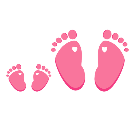 adult footprint: Pink baby and adult footprint raster isolated on white , girl