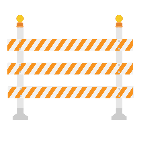 road barrier: Orange and white, triple, striped road barrier, barricade. Road block with signal lamp raster isolated. Warning lamp or light Stock Photo