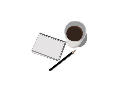 cofee: Illustration of Block notes pencil and cofee Stock Photo
