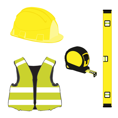 protective workwear: Yellow building set with bubble level, building helmet, vest, tape measure, protective workwear