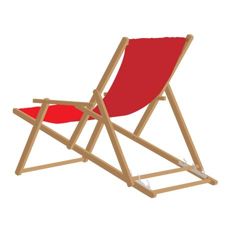 silla playa: Beach chair, red beach chair, beach chair isolated Foto de archivo