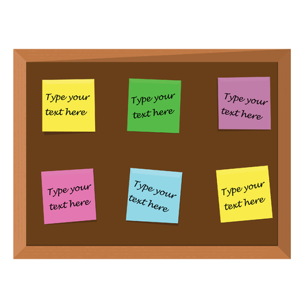 bulletin: Brown wooden bulletin board with six color stick notes yellow, green, pink, purple and blue. Notice board. Cork board. School bulletin board Stock Photo