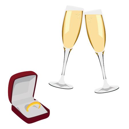 anillos de boda: Jewlery terciopelo caja se abrió con el anillo de bodas de oro y dos copas de champán trama aislado en blanco