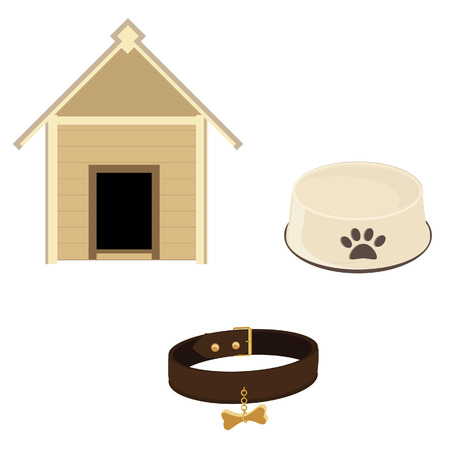 brown leather: Dog equipment icon set dog house, bowl and brown leather collar raster isolated