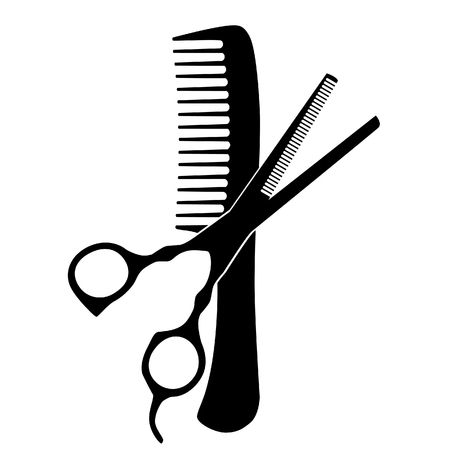 Black silhouette of comb and scissors raster icon, sign 스톡 콘텐츠