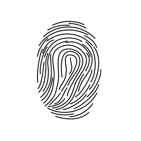 fingermark: Black silhouette of fingerprint raster illustration, fingerprint icon, fingerprint scan Stock Photo