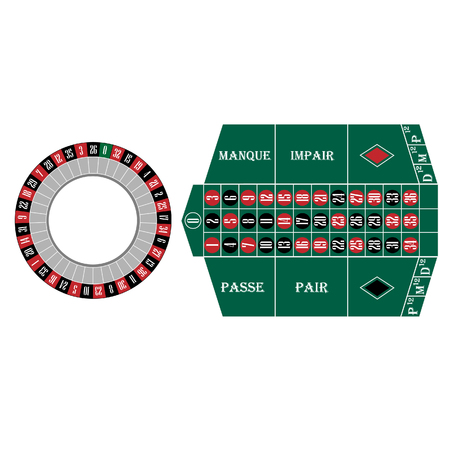 roulette table: Roulette wheel and table raster set, casino table, gambling. French roulette