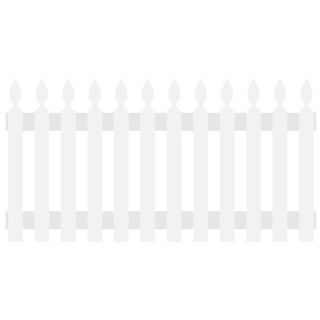 garden fence: White wooden garden fence, palisade raster isolated