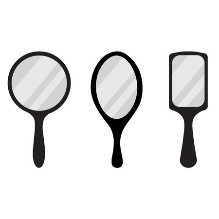 hand mirror: Set of three black hand mirror raster icon. Round, rectangular, ellipse hand mirrors