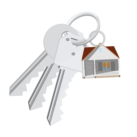 dwell: Home key isolated with charm modern house, real estate, sale, house keys