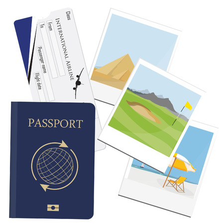 polaroid: raster illustration of passport with ticket and polaroid photo pictures from travel. Egypt pyramids giza. Golf field at mountain landscape. Summer holiday. Seaside