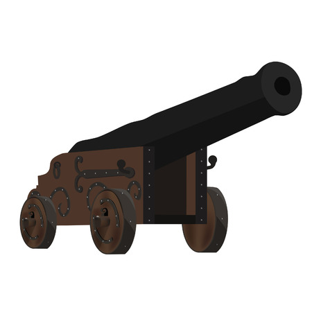 cannon ball: Old cannon artillery weapon raster illustration. Ramadan cannon. Ship cannon. Vintage firepower