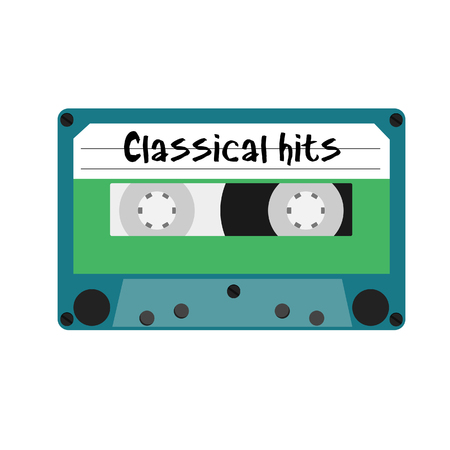 magnetite: Blue cassette with text classical hits raster illustration. Vintage cassette