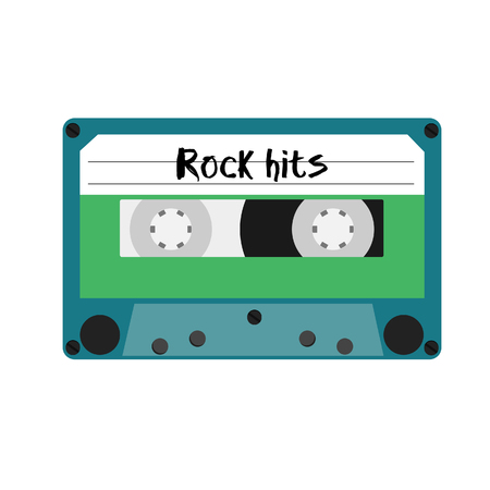 hits: Blue cassette tape with rock hits label raster illustration. Vintage cassete