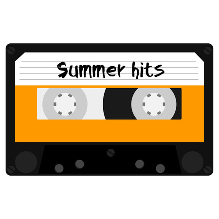 hits: Cassette tape with summer hits for summer party raster illustration. Summertime disco. Retro audio cassette tape Stock Photo